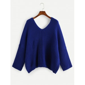 SHEIN SHEIN Double V Neck Solid Sweater Blue Fabric has some stretch Regular Fit sweater180829414ONHNBJZ
